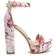 Tall-Star Chunky Floral Platform Heels (110 ILS) ❤ liked on Polyvore featuring shoes, sandals, pink, pink platform sandals, floral print shoes, open toe sandals, high heel sandals and chunky heel shoes