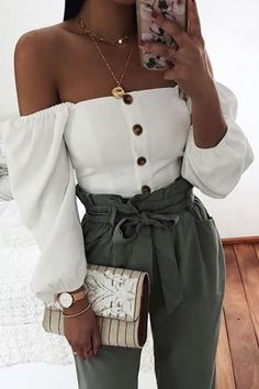 Off-The-Shoulder Single-Breasted Short Lantern Sleeve Shirt Cute Summer Outfits, Cute Casual Outfits, Stylish Outfits, Spring Outfits, Outfit Summer, Dress Summer, Spring Summer, Teen Fashion Outfits, Girly Outfits