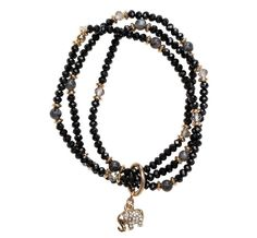 Glass Bead with Elephant Charm Bracelet Trio in Black