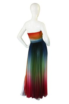 back view - 1970's Bill Blass Couture Ombre Gown