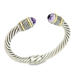 Amethyst Twisted Cable Bangle Set in Sterling Silver & 18K Gold Accent | Cirque Jewels