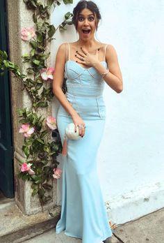 thaila ayala look vestido longo azul