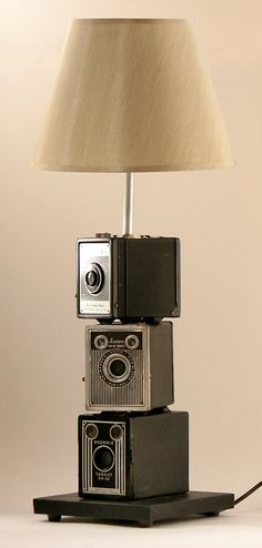 vintage kodak camera stack lamp by leeannsvintagedecor on Etsy, $199.00