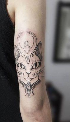 cat tattoo design by Facu Ontivero