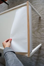 freckles chick: (an Ikea LATT hack) Adding a dowel underneath and trim on top so paper roll can be pulled around and kept secure while kids are drawing