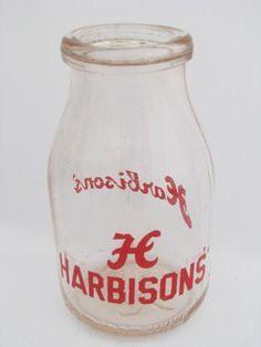 vintage half-pint glass milk bottle, old Harbisons Dairy advertising, Philadelphia Old Milk Bottles, Antique Bottles, Churning Butter, Bottom Of The Bottle, Half Pint, Homemade Ice Cream, Carafe, Milk Glass, Dairy