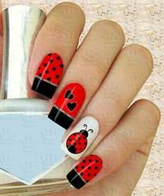Mariquita Cute Nail Designs, Acrylic Nail Designs, Cute Nails, Pretty Nails, Ladybug Nail Art, Sunflower Nails, Animal Nail Art, Halloween Nail Art, Nail Art Diy