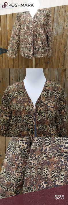 Chico's Animal Print Open Front Blazer Jacket Size 0 or Small Animal Print Fine Fringe  Very lightly padded Open front, NO closure Shell & Lining is 100% Silk Polyfill is 100% Polyester  Measurements Bust is 40 inches Sleeve Length is 22 inches Length of blazer is 23 inches Chico's Jackets & Coats Blazers