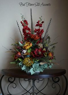 80 best silk flower arrangements images on pinterest silk flowers tile topper arrangement red delphinium rust and gold peonies pods mushrooms feathers and a gold orb reserved for debbie belfioresilkaccentssy mightylinksfo