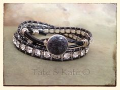 Gunemetal Leather Wrap Bracelet/ Mermaid by TateandKatedesigns, $60.00