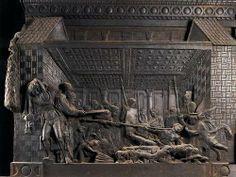 DONATELLO, martirio di San Lorenzo, Firenze,  Basilica di san Lorenzo, 1460, bronzo, (misura altare senza colonne, 137 X 280cm).