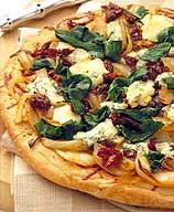 healthy caramelized onion, sundried tomato, spinach pizza