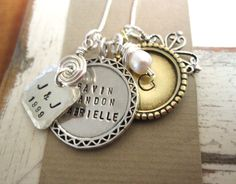 Personalized Mothers Hand Stamped Necklace.... Hand Stamped Jewelry... J & J Family Group ... Mothers Jewelry. $92.00, via Etsy.