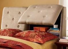 Schon Tufted Suede Microfiber Headboard W/storage. I Love Multipurpose Furniture!