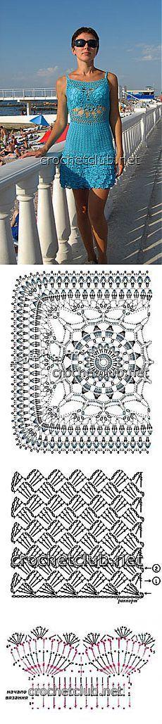Пляжный сарафан крючком - Вязание Крючком. Блог Настика