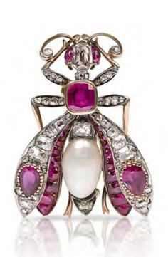 An antique silver, rose gold, diamond, natural pearl and ruby insect brooch, circa 1900. 4 x 3cm. #antique