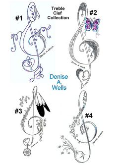 Music has always been an inspiration to my artwork.   These are four Treble Clef Tattoo Designs that have a variety of different beautiful details added to make each one unique in it's own way....    ♥♪ ♥¸.•*´¨´¨*•.¸ ♥♪ ♥♥♪ ♥¸.•*´¨´¨*•.¸♥♪ ♥♥♪ ♥    You ca . At Last Learn the closely guarded secrets of the # tattoo mega stars http://howtotattoobible.com/learn-how-to-tattoo/