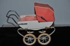 Vintage Doll French Pram Carriage Buggy Red Doucet Wonderful Small Size Fashion Doll