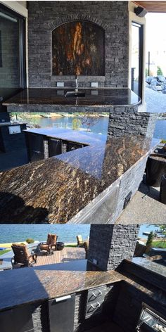 One of the most creative uses of natural stone we've seen. This customer utilized a unique, flame-like element in their slab of Cosmos Gold and framed it to look like a fireplace of stone on the wall of their outdoor kitchen. The final product is truly breathtaking and drives home the fact that natural stone is art all on its own.