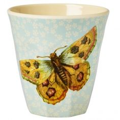 Rice Melamine Medium Cup Soft Blue Flower and Butterfly Print