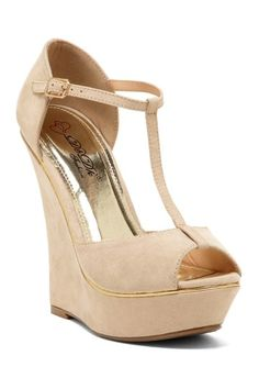 Beautiful. And higher than I can manage. Derris T-Strap Wedge Sandal