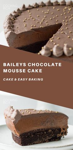 Chocolate cake and Baileys Mousse come together for a rich and decadent Baileys Cake. Each layer is infused with the smooth creamy taste of Irish Cream. The post Baileys Chocolate Mousse Cake appeared first on Win Dessert. Healthy Cake Recipes, Sweet Recipes, Dessert Recipes, Snacks Recipes, Chocolate Cream Cake, Homemade Chocolate, Chocolate Baileys, Chocolate Mousse Cheesecake, Chocolate Buttercream