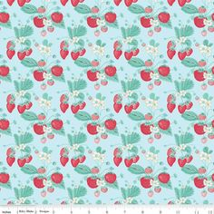 The Shabby Strawberry-Strawberry Main Blue - Cotton Fabric- Strawberry- Penny Rose - Riley Blake- By the yard and half by WindyRobinCotton on Etsy