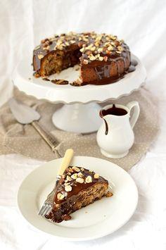 Dark chocolate, pear, hazelnut and cinnamon cake