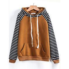 SheIn(sheinside) Contrast Raglan Sleeve Hooded Striped Sweatshirt ($20) ❤ liked on Polyvore featuring tops, hoodies, sweatshirts, pullover hoodie, hooded sweatshirt, pullover hoodie sweatshirt, cotton pullovers and hoodie sweatshirts