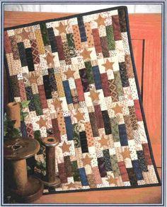 "'Centennial Stars' - 15"" x 33"" mini quilt is charm pack friendly"