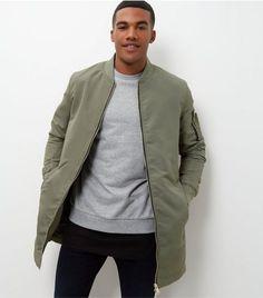 Olive Green Longline Bomber Jacket  | New Look