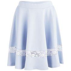 Lavish Alice Women's Scuba Lace Insert Skater Skirt - Powder Blue ($29) ❤ liked on Polyvore featuring skirts, bottoms, blue, blue skirt, midi skater skirt, circle skirt, skater skirt and flared midi skirt