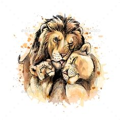 Buy Family of Lions From a Splash of Watercolor by kapona on GraphicRiver. Family of lions from a splash of watercolor, hand drawn sketch. Vector illustration of paints Animal Sketches, Animal Drawings, Drawing Sketches, Art Drawings, Illustration Au Crayon, Watercolor Illustration, Watercolor Animals, Watercolor Trees, Tattoo Watercolor