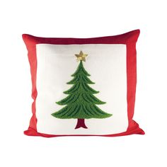 Pomeroy POM-902338 Evergreen Collection Ribbon Red,Evergreen,Snow Finish Pillow