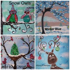 Holiday Paintings at Whimsy Art Studio- adult BYOB painting classes Halloween Christmas, Christmas Snowman, Kids Christmas, Christmas Ornaments, Byob Painting, Painting Classes, Snowmen Paintings, Christmas Paintings, Diy And Crafts
