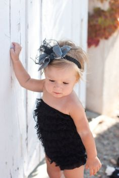 Black lace ruffle romper with grey silk bow by PrettyPetalsHair heat971