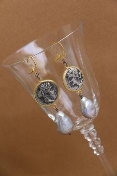 orecchini argento 925 bagno oro argento canna di fucile perle