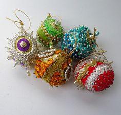 Vintage Christmas Ornaments Beaded Sequins Pearls USA Handmade Lot 1960's Decorations via Etsy.