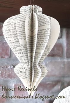 House Revivals: Honeycomb Ornament Tutorial MADE FROM BOOK PAGES