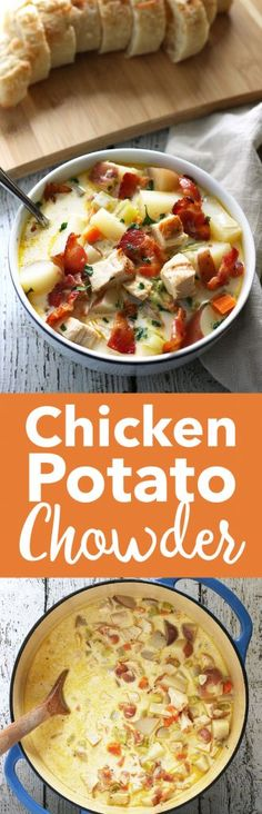 This chicken potato chowder is great for using up leftover grilled chicken breasts. It is easy to make and super tasty thanks to added bacon. | honeyandbirch.com