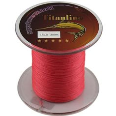 Titanline Super High Grade Fiber PE Briad Braided Fishing Line Red 15LB 300M Meters * Want additional info? Click on the image.