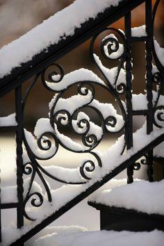 Snow on Railings