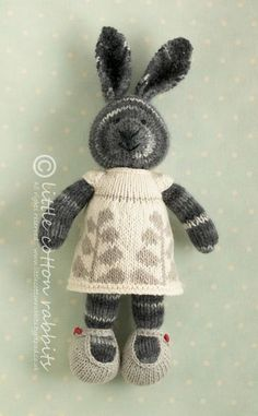 "Knitted rabbit (in a dress, of course) using variegated yarn for a striped effect. ""Cristale"" by Julie Williams http://littlecottonrabbits.typepad.co.uk/shop/2012/03/cristale.html"