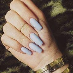 Pastel blue color, matte nail polish, matte nails, nail design, long nails, nail inspiration