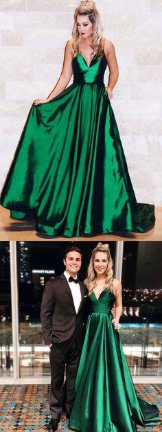 New Arrivals 2018 Emerald Green Satin V-neck Floor Length Prom Dress Backless Evening Gowns Backless Evening Gowns, Backless Prom Dresses, A Line Prom Dresses, Cheap Prom Dresses, Evening Dresses, Dress Prom, Dress Long, Wedding Dress, Grad Dresses