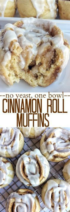 No yeast, one bowl Cinnamon Roll Muffins from Together as Family blog! www.togetherasfamily.com