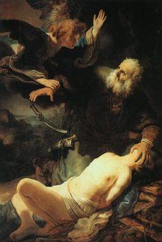 Rembrandt Harmensz. van Rijn: The Angel Prevents the Sacrifice of Isaac (1635)
