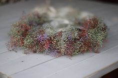 Tie Back Floral Crown, Photo Prop, , Woodland Floral Wreath, Flower  girl, real dried baby breath