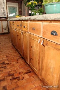 """Not sure I would """"distress"""" my cabinets quite as much these have been, but I still love the idea"""