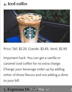 Starbucks Hacks, Starbucks Recipes, Starbucks Coffee, Coffee Recipes, Healthy Starbucks Drinks, Starbucks Secret Menu Drinks, Healthy Drinks, Dessert Drinks, Fun Drinks